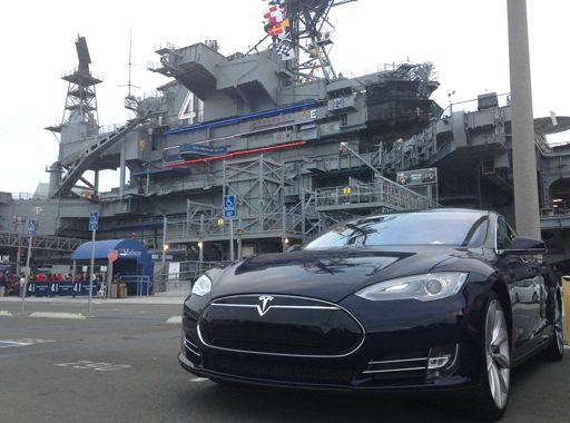 Tesla Model S at USS Midway